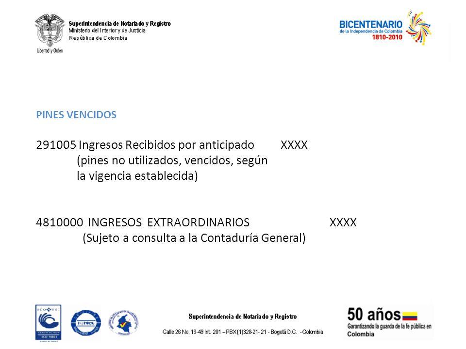 PINES VENCIDOS 291005 Ingresos Recibidos por anticipado XXXX (pines no utilizados, vencidos, según la vigencia establecida) 4810000 INGRESOS EXTRAORDI
