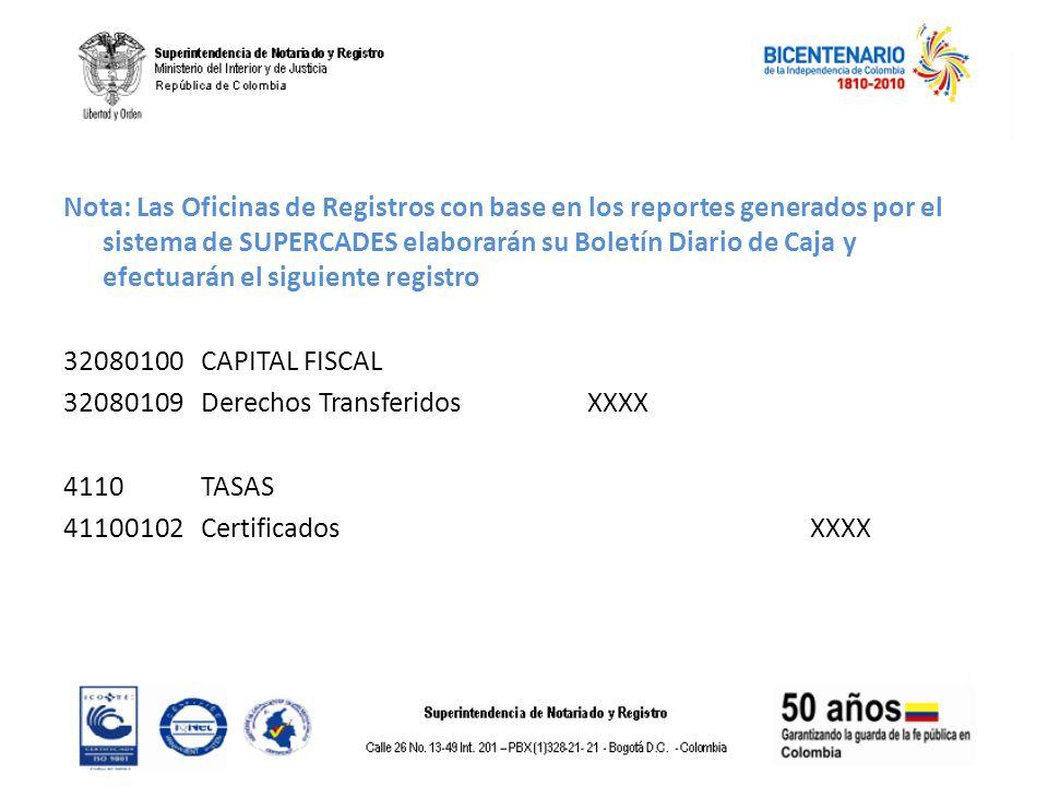 Nota: Las Oficinas de Registros con base en los reportes generados por el sistema de SUPERCADES elaborarán su Boletín Diario de Caja y efectuarán el s