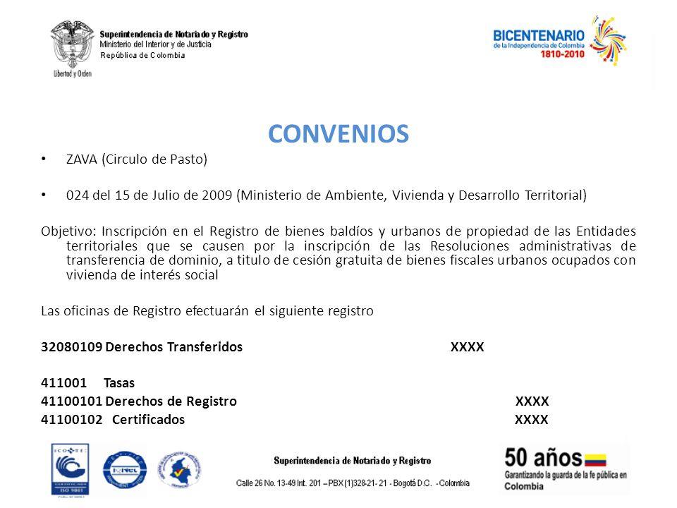 CONVENIOS ZAVA (Circulo de Pasto) 024 del 15 de Julio de 2009 (Ministerio de Ambiente, Vivienda y Desarrollo Territorial) Objetivo: Inscripción en el
