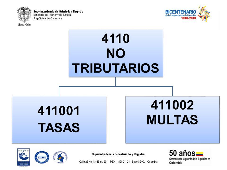 4110 NO TRIBUTARIOS 411001 TASAS 411002 MULTAS