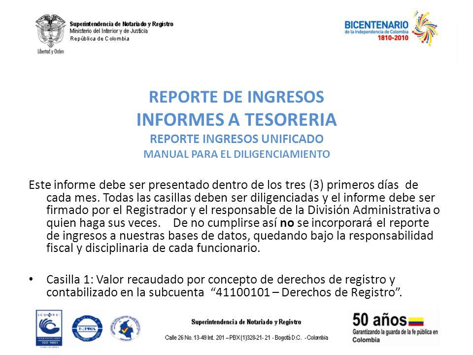 REPORTE DE INGRESOS INFORMES A TESORERIA REPORTE INGRESOS UNIFICADO MANUAL PARA EL DILIGENCIAMIENTO Este informe debe ser presentado dentro de los tre