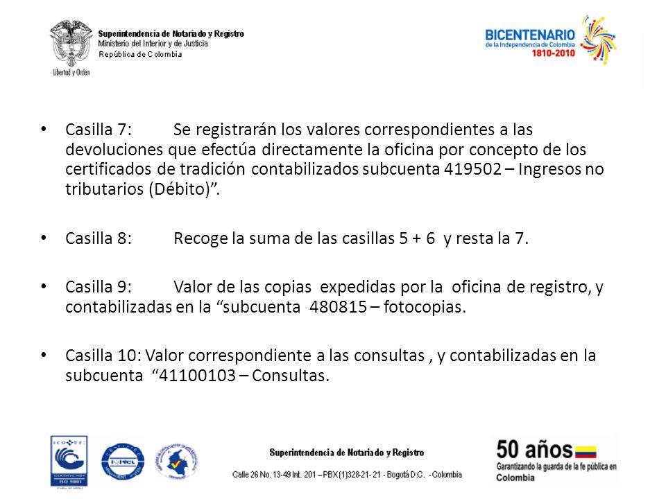 Casilla 7: Se registrarán los valores correspondientes a las devoluciones que efectúa directamente la oficina por concepto de los certificados de trad