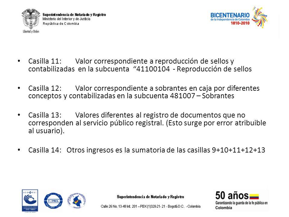 Casilla 11: Valor correspondiente a reproducción de sellos y contabilizadas en la subcuenta 41100104 - Reproducción de sellos Casilla 12: Valor corres