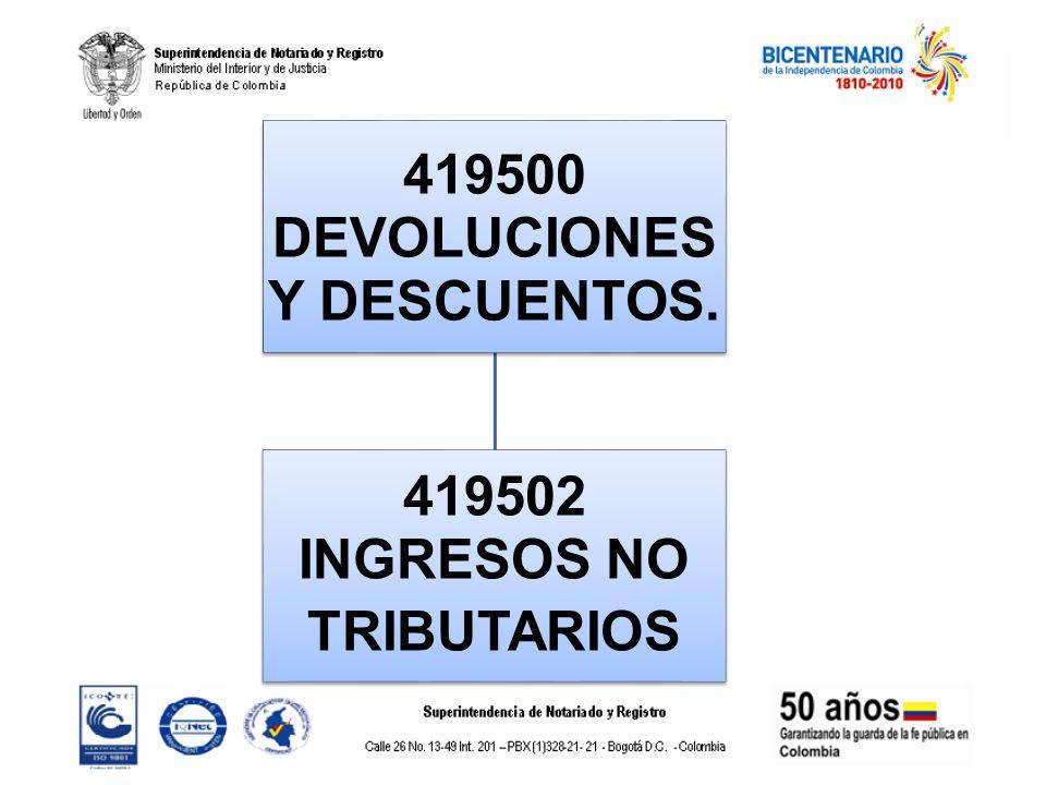 419500 DEVOLUCIONES Y DESCUENTOS. 419502 INGRESOS NO TRIBUTARIOS