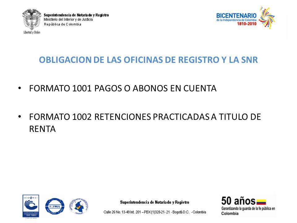 OBLIGACION DE LAS OFICINAS DE REGISTRO Y LA SNR FORMATO 1001 PAGOS O ABONOS EN CUENTA FORMATO 1002 RETENCIONES PRACTICADAS A TITULO DE RENTA