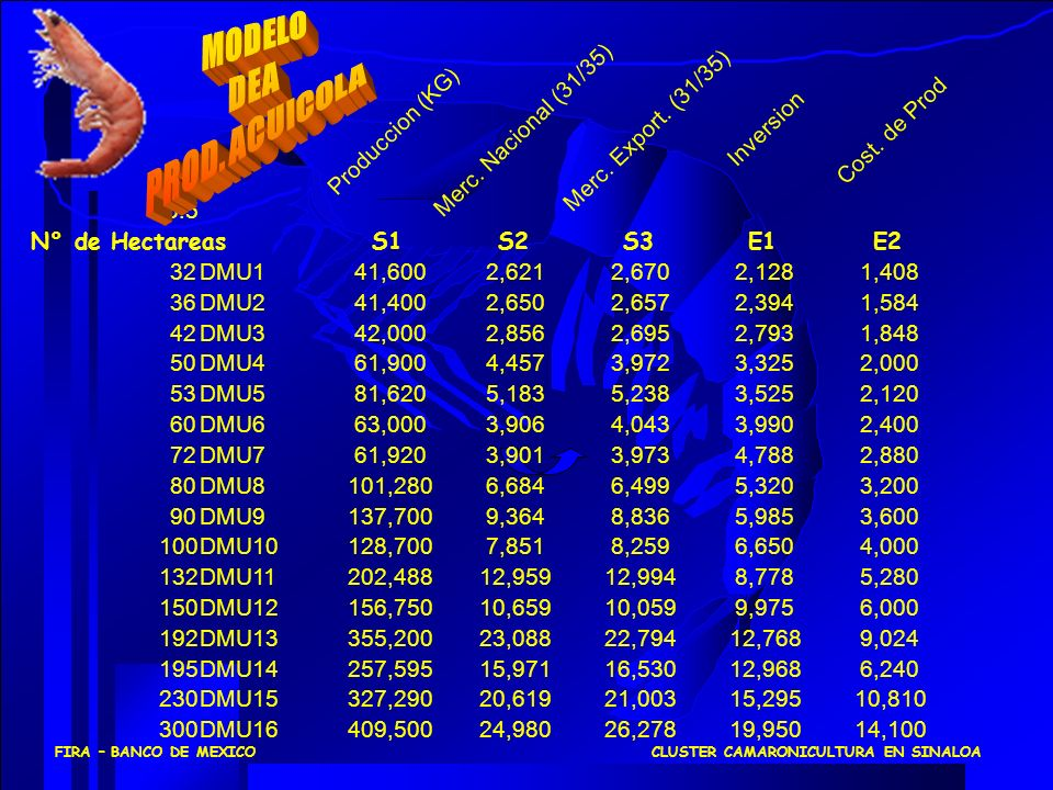 66.5 Produccion (KG) Merc. Nacional (31/35) Merc. Export. (31/35) Inversion Cost. de Prod N° de HectareasS1S2S3E1E2 32DMU141,6002,6212,6702,1281,408 3