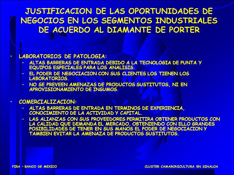 CLUSTER CAMARONICULTURA EN SINALOAFIRA – BANCO DE MEXICO LABORATORIOS DE PATOLOGIA: –ALTAS BARRERAS DE ENTRADA DEBIDO A LA TECNOLOGIA DE PUNTA Y EQUIP