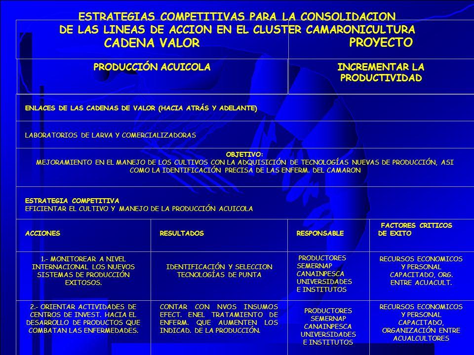 ESTRATEGIAS COMPETITIVAS PARA LA CONSOLIDACION DE LAS LINEAS DE ACCION EN EL CLUSTER CAMARONICULTURA CADENA VALOR PROYECTO PRODUCCIÓN ACUICOLAINCREMEN