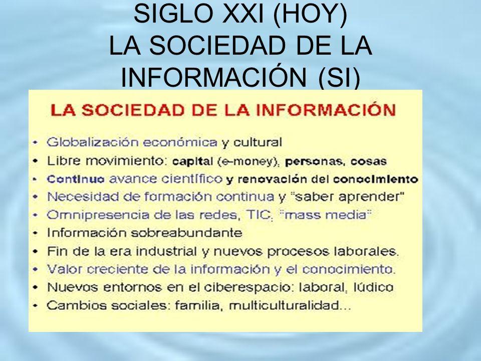 SIGLO XXI (HOY) LA SOCIEDAD DE LA INFORMACIÓN (SI)