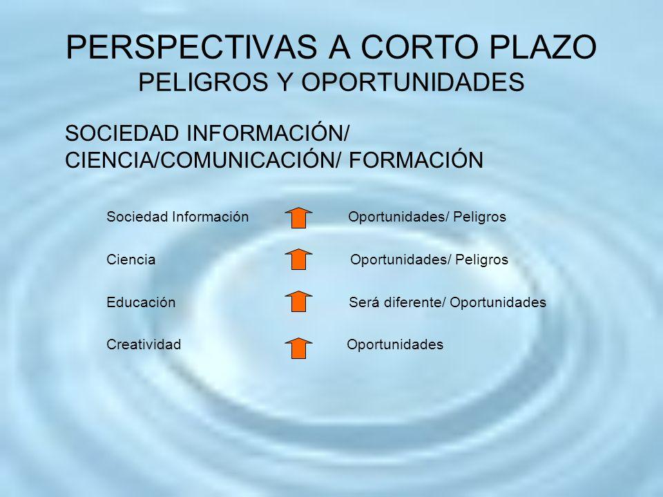 PERSPECTIVAS A CORTO PLAZO PELIGROS Y OPORTUNIDADES SOCIEDAD INFORMACIÓN/ CIENCIA/COMUNICACIÓN/ FORMACIÓN Sociedad Información Oportunidades/ Peligros