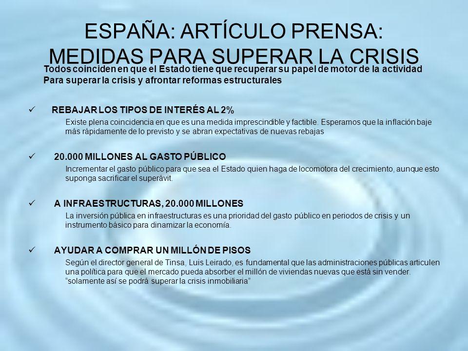 ESPAÑA: ARTÍCULO PRENSA: MEDIDAS PARA SUPERAR LA CRISIS REBAJAR LOS TIPOS DE INTERÉS AL 2% Existe plena coincidencia en que es una medida imprescindib