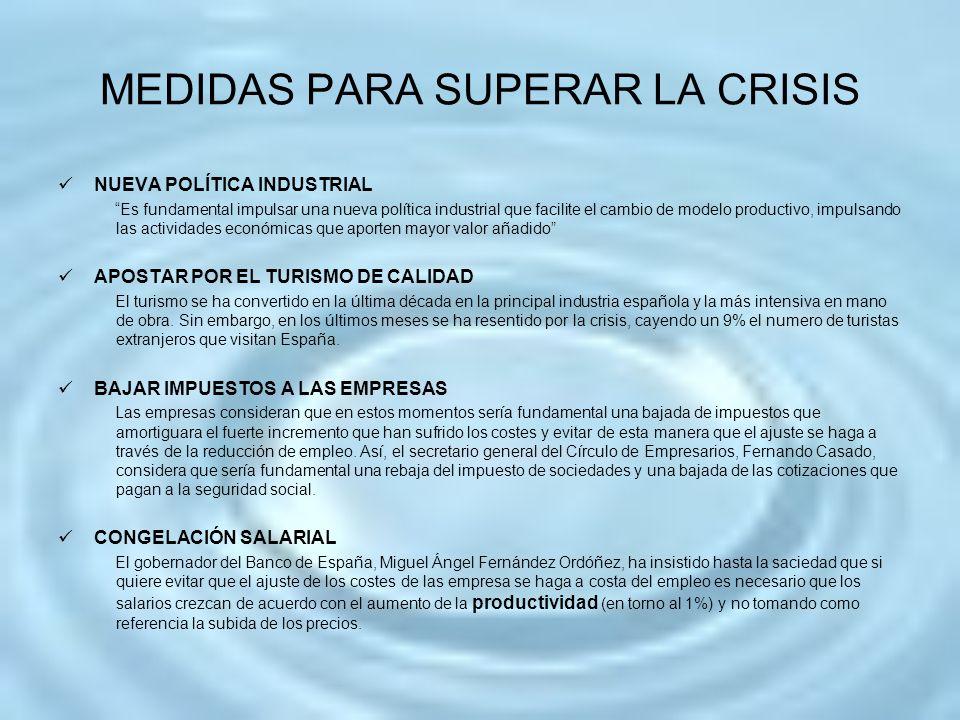 MEDIDAS PARA SUPERAR LA CRISIS NUEVA POLÍTICA INDUSTRIAL Es fundamental impulsar una nueva política industrial que facilite el cambio de modelo produc