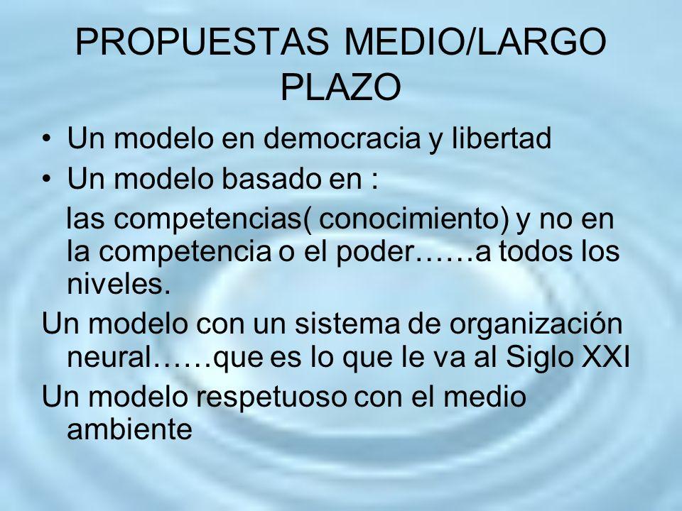 PROPUESTAS MEDIO/LARGO PLAZO Un modelo en democracia y libertad Un modelo basado en : las competencias( conocimiento) y no en la competencia o el pode