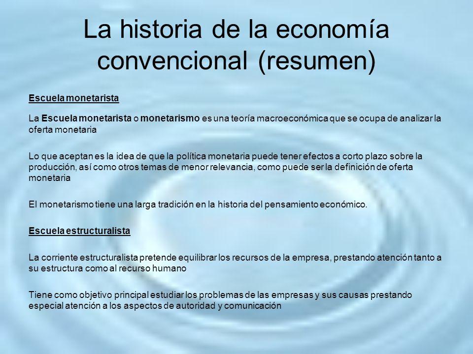 La historia de la economía convencional (resumen) Escuela monetarista La Escuela monetarista o monetarismo es una teoría macroeconómica que se ocupa d