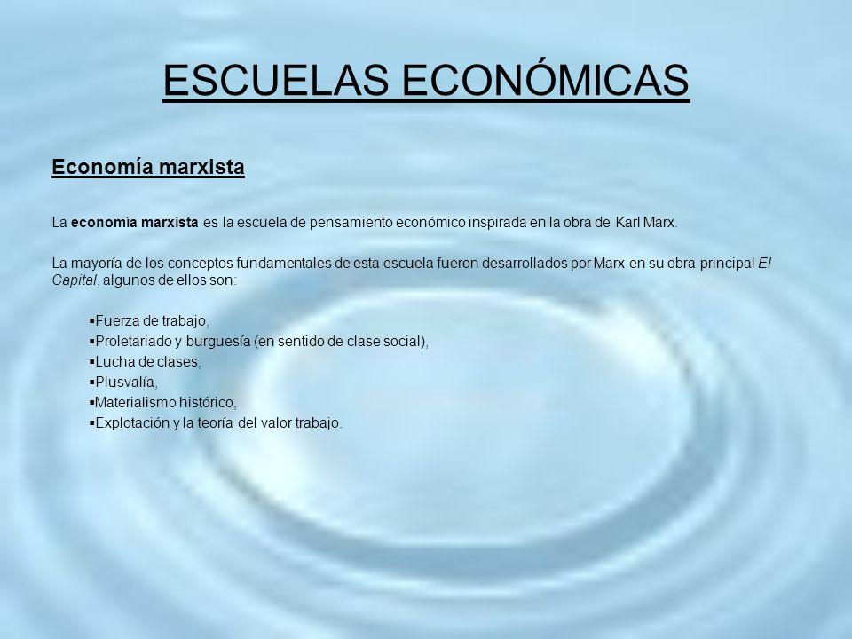 ESCUELAS ECONÓMICAS Economía marxista La economía marxista es la escuela de pensamiento económico inspirada en la obra de Karl Marx. La mayoría de los