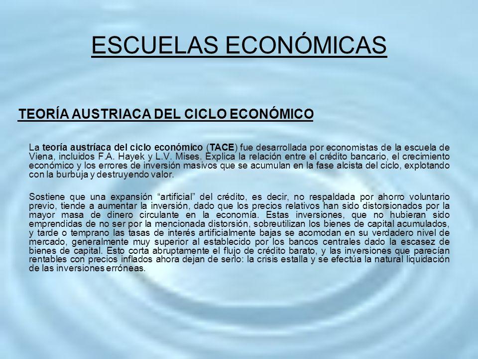 TEORÍA AUSTRIACA DEL CICLO ECONÓMICO La teoría austríaca del ciclo económico (TACE) fue desarrollada por economistas de la escuela de Viena, incluidos