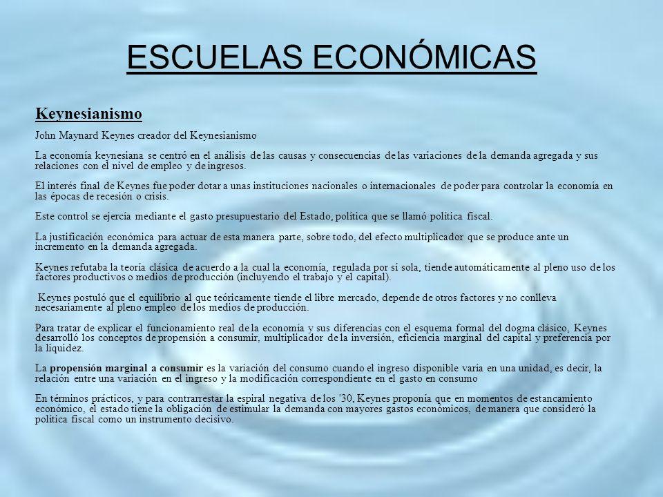 ESCUELAS ECONÓMICAS Keynesianismo John Maynard Keynes creador del Keynesianismo La economía keynesiana se centró en el análisis de las causas y consec