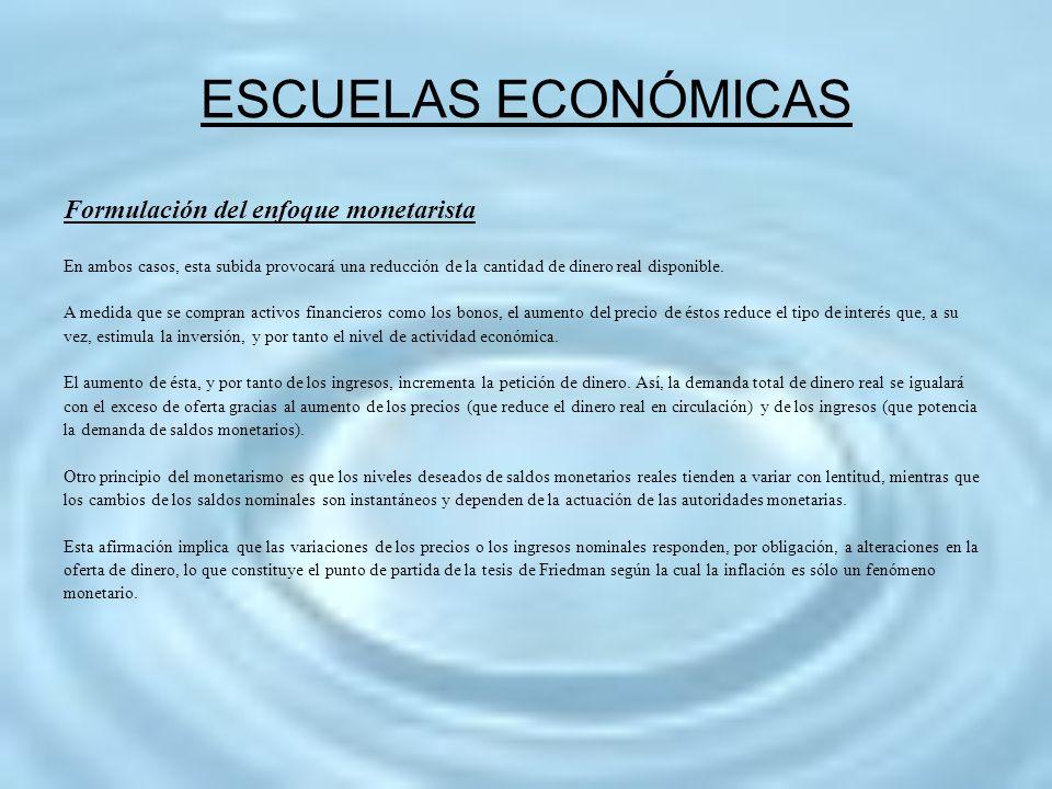 ESCUELAS ECONÓMICAS Formulación del enfoque monetarista En ambos casos, esta subida provocará una reducción de la cantidad de dinero real disponible.