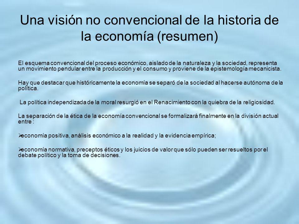 Una visión no convencional de la historia de la economía (resumen) El esquema convencional del proceso económico, aislado de la naturaleza y la socied