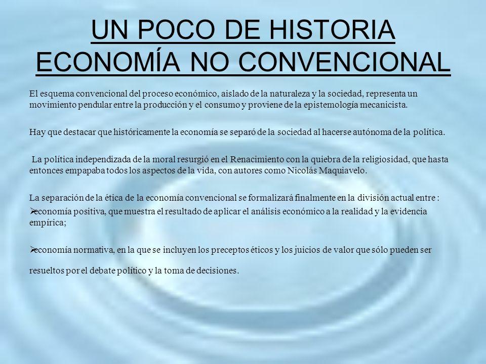 UN POCO DE HISTORIA ECONOMÍA NO CONVENCIONAL El esquema convencional del proceso económico, aislado de la naturaleza y la sociedad, representa un movi