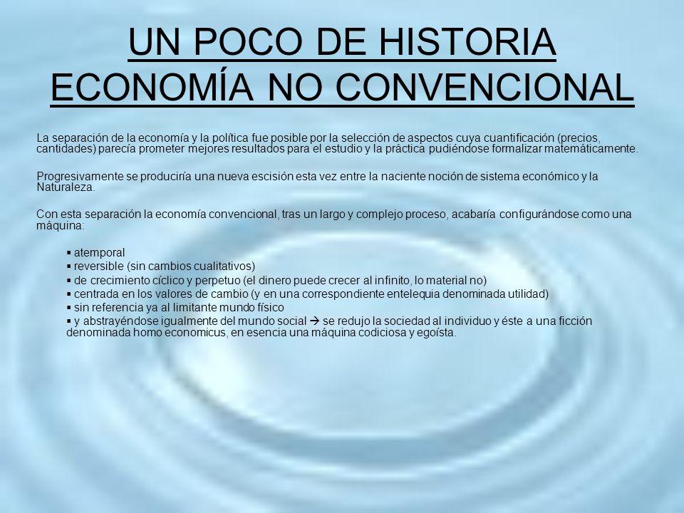 UN POCO DE HISTORIA ECONOMÍA NO CONVENCIONAL La separación de la economía y la política fue posible por la selección de aspectos cuya cuantificación (