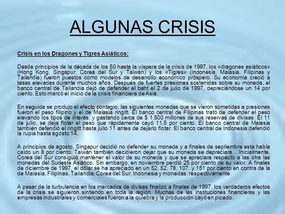 ALGUNAS CRISIS Crisis en los Dragones y Tigres Asiáticos: Desde principios de la década de los 50 hasta la víspera de la crisis de 1997, los «dragones