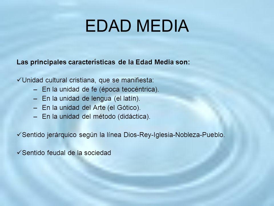 EDAD MEDIA Los estratos sociales de la Edad Media son: La Iglesia, que es la rectora de la Edad Media en lo religioso, cultural y social.