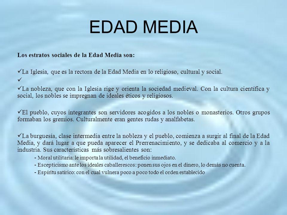 EDAD MEDIA Los estratos sociales de la Edad Media son: La Iglesia, que es la rectora de la Edad Media en lo religioso, cultural y social. La nobleza,