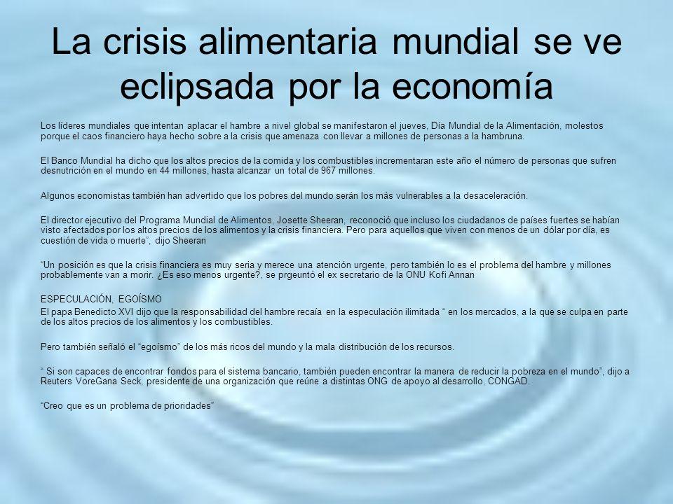 La crisis alimentaria mundial se ve eclipsada por la economía Los líderes mundiales que intentan aplacar el hambre a nivel global se manifestaron el j