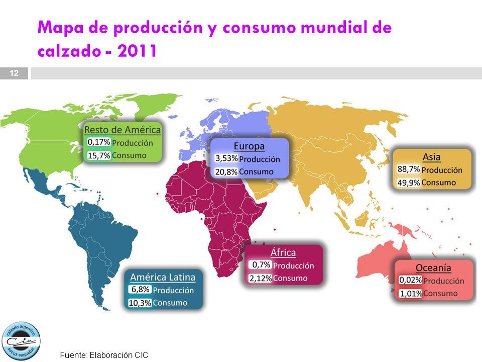 Mapa de producción y consumo mundial de calzado - 2011 12 Fuente: Elaboración CIC