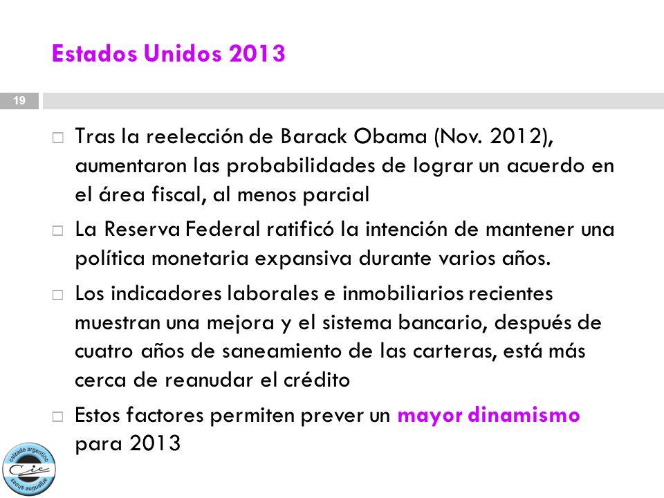 Estados Unidos 2013 T ras la reelección de Barack Obama (Nov. 2012), aumentaron las probabilidades de lograr un acuerdo en el área fiscal, al menos pa