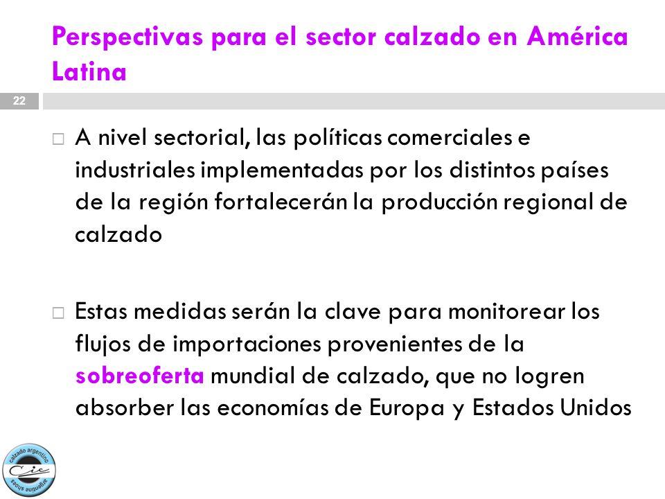 Perspectivas para el sector calzado en América Latina A nivel sectorial, las políticas comerciales e industriales implementadas por los distintos país