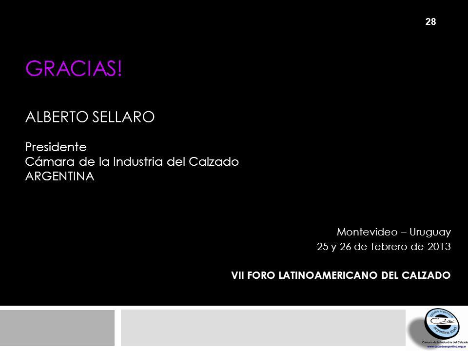 GRACIAS! ALBERTO SELLARO Presidente Cámara de la Industria del Calzado ARGENTINA Montevideo – Uruguay 25 y 26 de febrero de 2013 VII FORO LATINOAMERIC