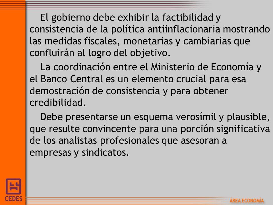 El gobierno debe exhibir la factibilidad y consistencia de la política antiinflacionaria mostrando las medidas fiscales, monetarias y cambiarias que c