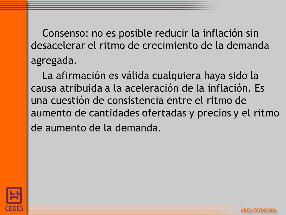 Consenso: no es posible reducir la inflación sin desacelerar el ritmo de crecimiento de la demanda agregada. La afirmación es válida cualquiera haya s
