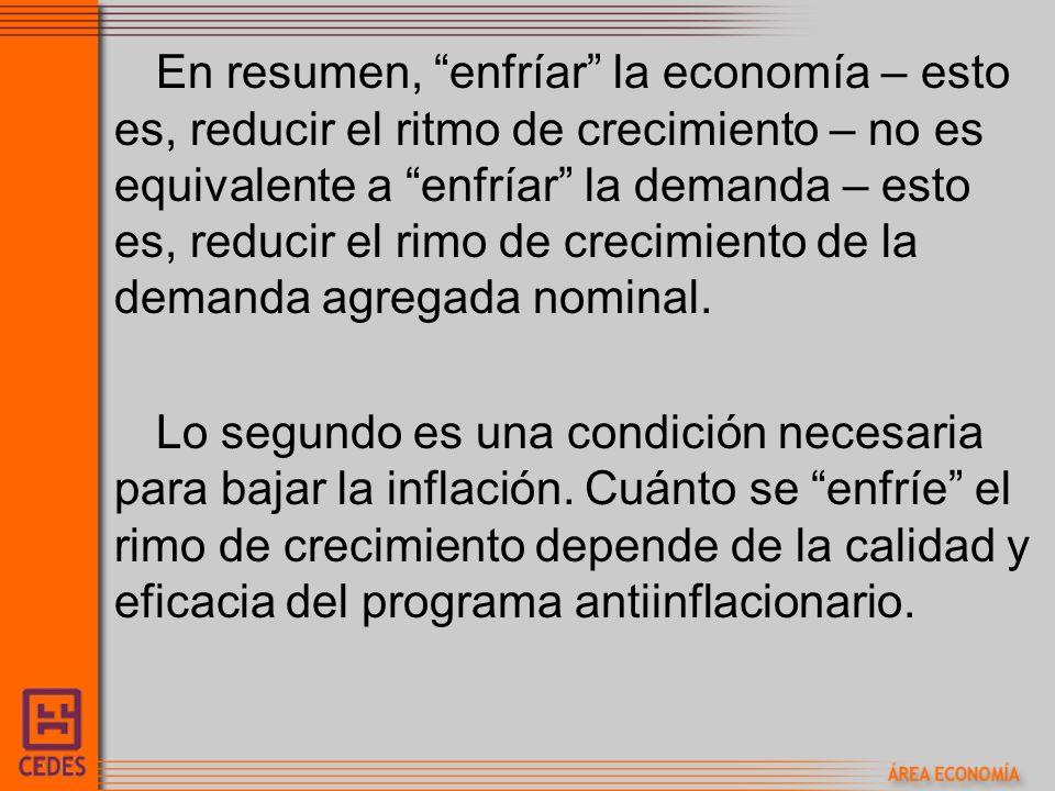 En resumen, enfríar la economía – esto es, reducir el ritmo de crecimiento – no es equivalente a enfríar la demanda – esto es, reducir el rimo de crec