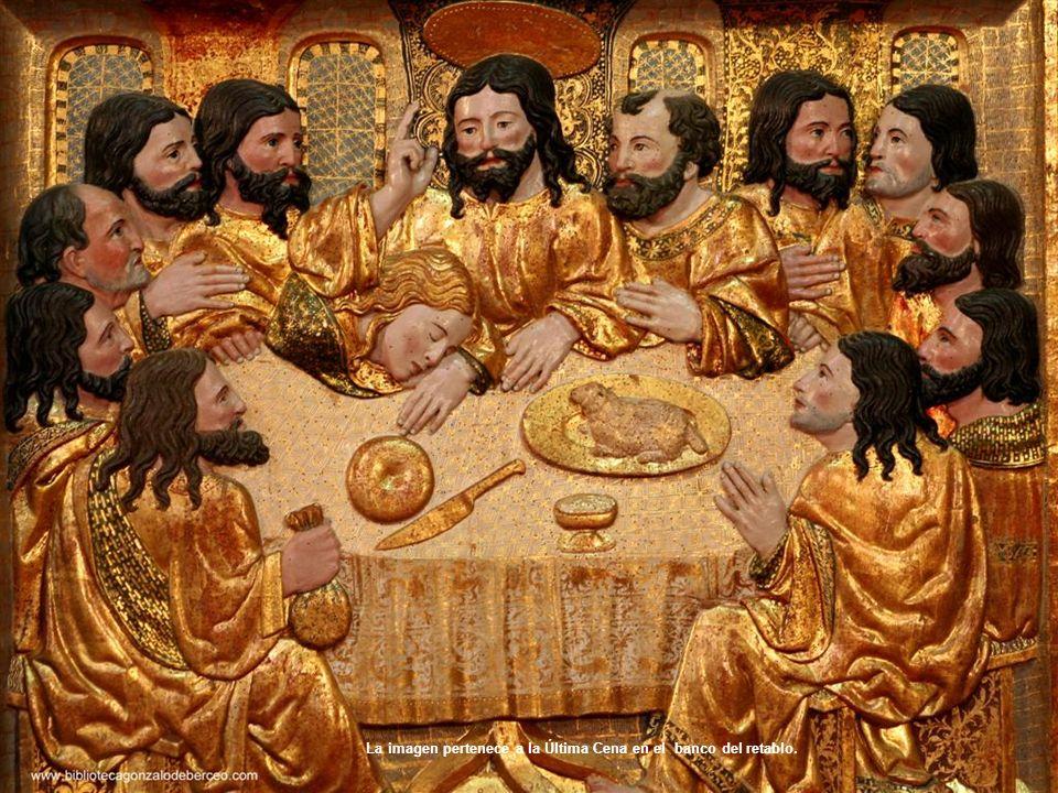 La imagen pertenece a la Última Cena en el banco del retablo.