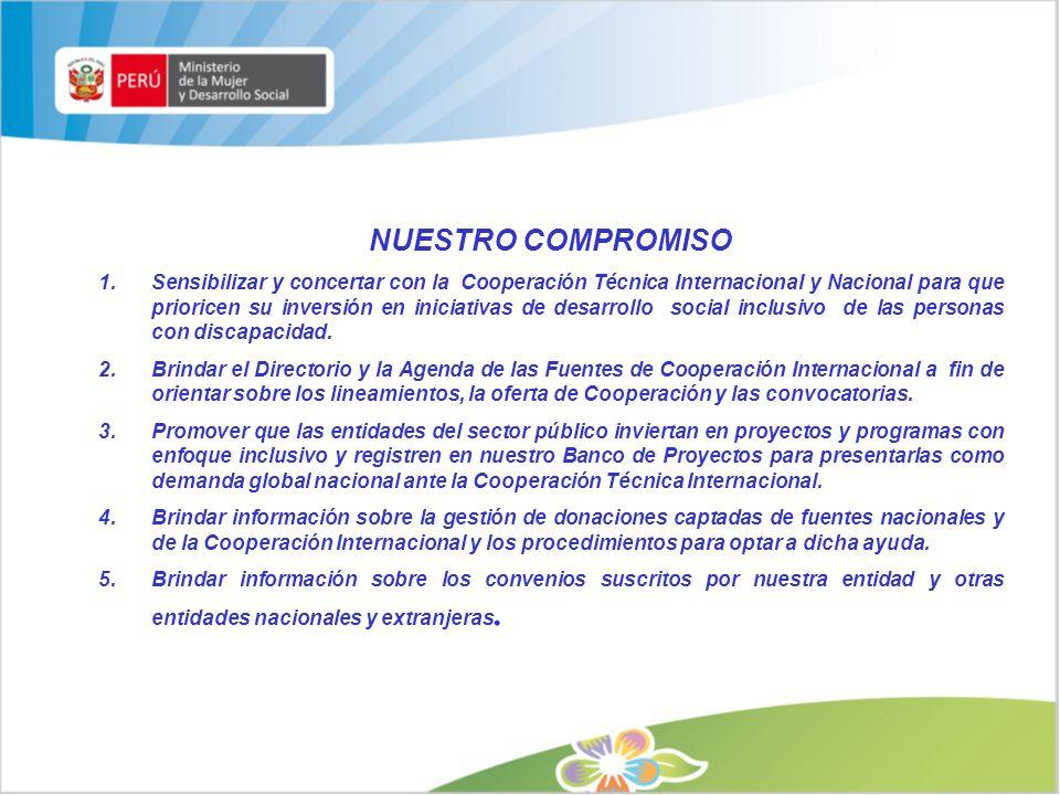 NUESTRO COMPROMISO 1.Sensibilizar y concertar con la Cooperación Técnica Internacional y Nacional para que prioricen su inversión en iniciativas de de