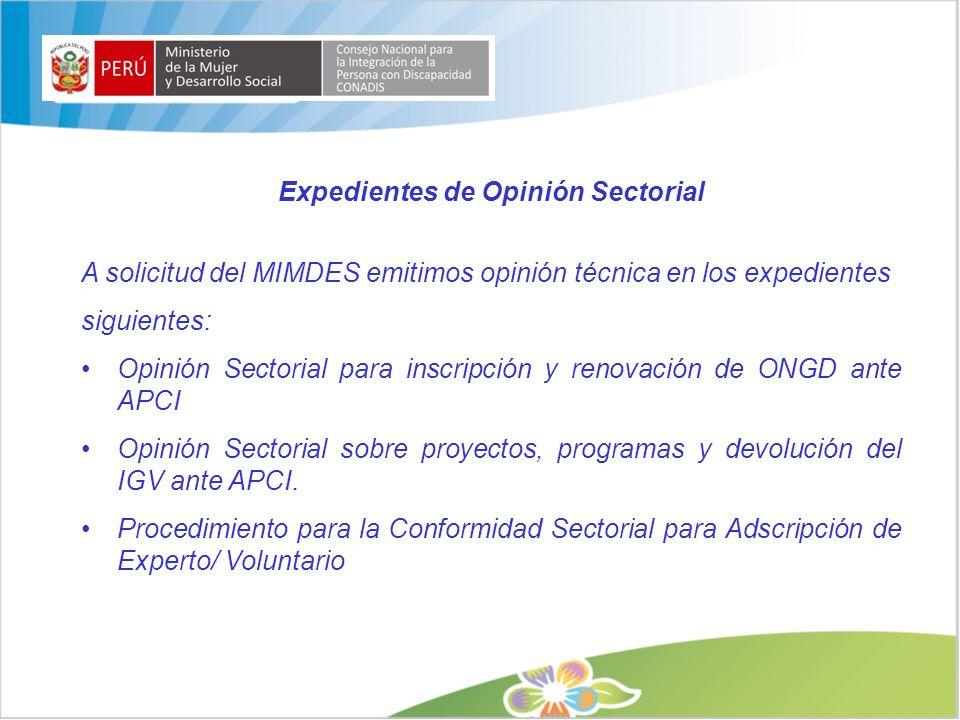 Expedientes de Opinión Sectorial A solicitud del MIMDES emitimos opinión técnica en los expedientes siguientes: Opinión Sectorial para inscripción y r