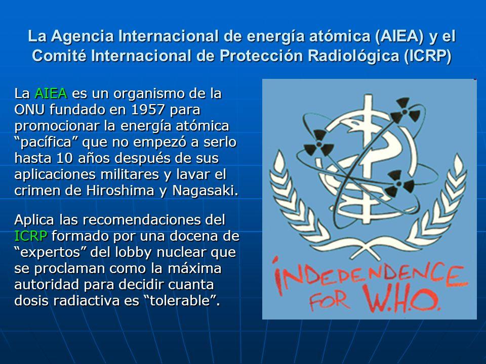 La Agencia Internacional de energía atómica (AIEA) y el Comité Internacional de Protección Radiológica (ICRP) La AIEA es un organismo de la ONU fundad