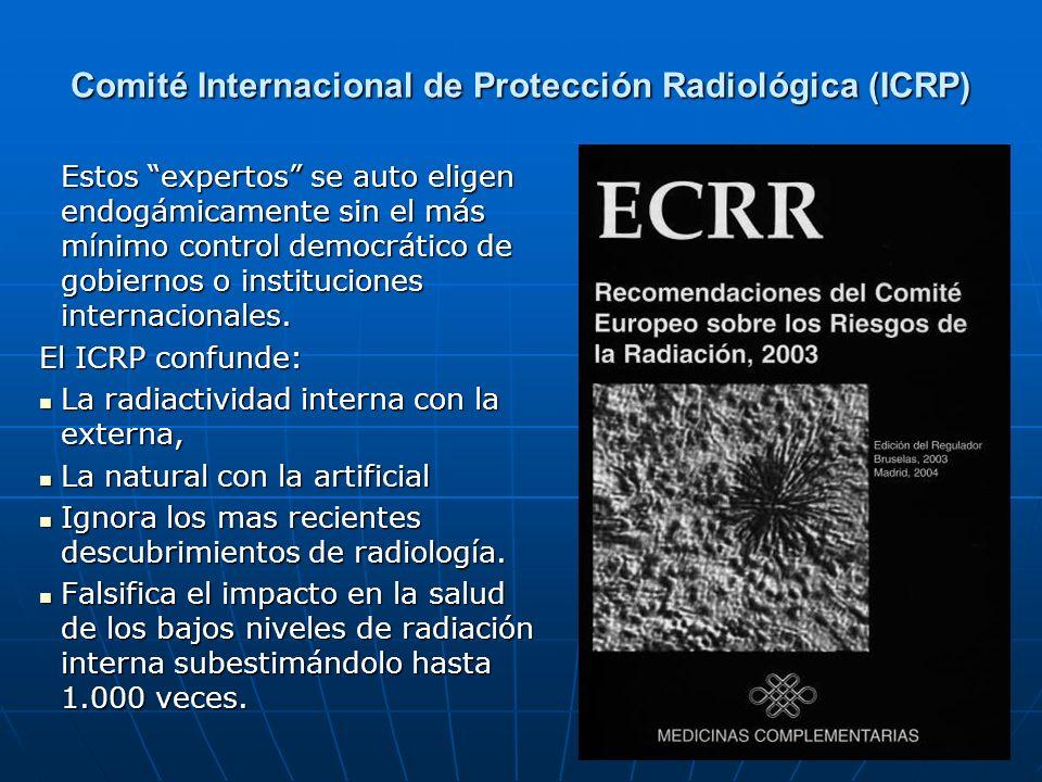 Comité Internacional de Protección Radiológica (ICRP) Estos expertos se auto eligen endogámicamente sin el más mínimo control democrático de gobiernos