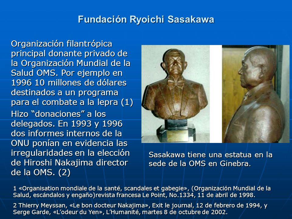 Fundación Ryoichi Sasakawa Organización filantrópica principal donante privado de la Organización Mundial de la Salud OMS. Por ejemplo en 1996 10 mill