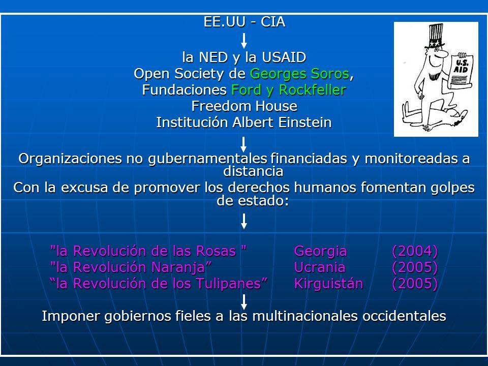 EE.UU - CIA la NED y la USAID Open Society de Georges Soros, Fundaciones Ford y Rockfeller Freedom House Institución Albert Einstein Organizaciones no