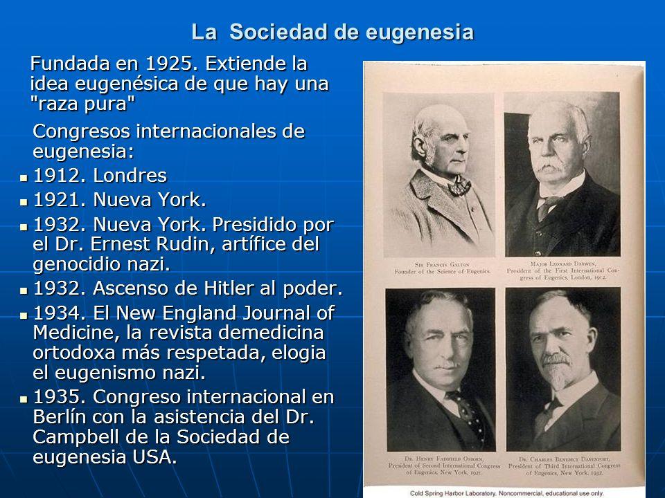 La Sociedad de eugenesia Congresos internacionales de eugenesia: Congresos internacionales de eugenesia: 1912. Londres 1912. Londres 1921. Nueva York.