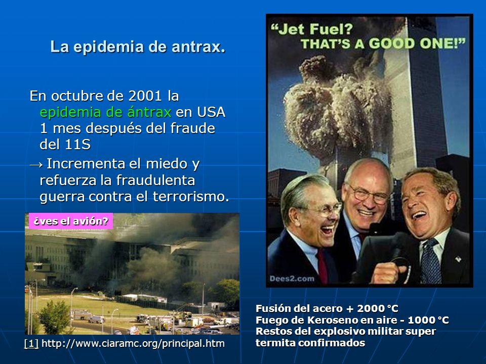 La epidemia de antrax. En octubre de 2001 la epidemia de ántrax en USA 1 mes después del fraude del 11S Incrementa el miedo y refuerza la fraudulenta