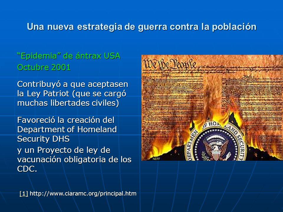 Una nueva estrategia de guerra contra la población Epidemia de ántrax USA Octubre 2001 Contribuyó a que aceptasen la Ley Patriot (que se cargó muchas