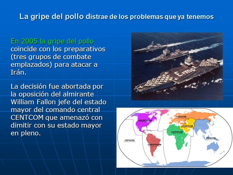 La gripe del pollo d istrae de los problemas que ya tenemos En 2005 la gripe del pollo coincide con los preparativos (tres grupos de combate emplazado