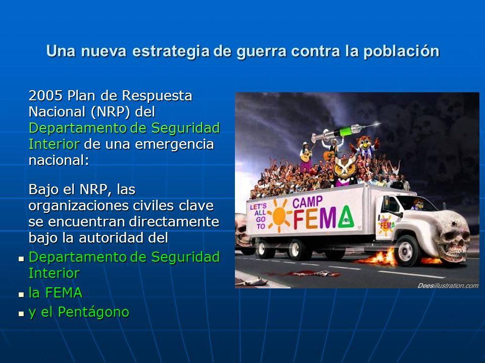 2005 Plan de Respuesta Nacional (NRP) del Departamento de Seguridad Interior de una emergencia nacional: Bajo el NRP, las organizaciones civiles clave