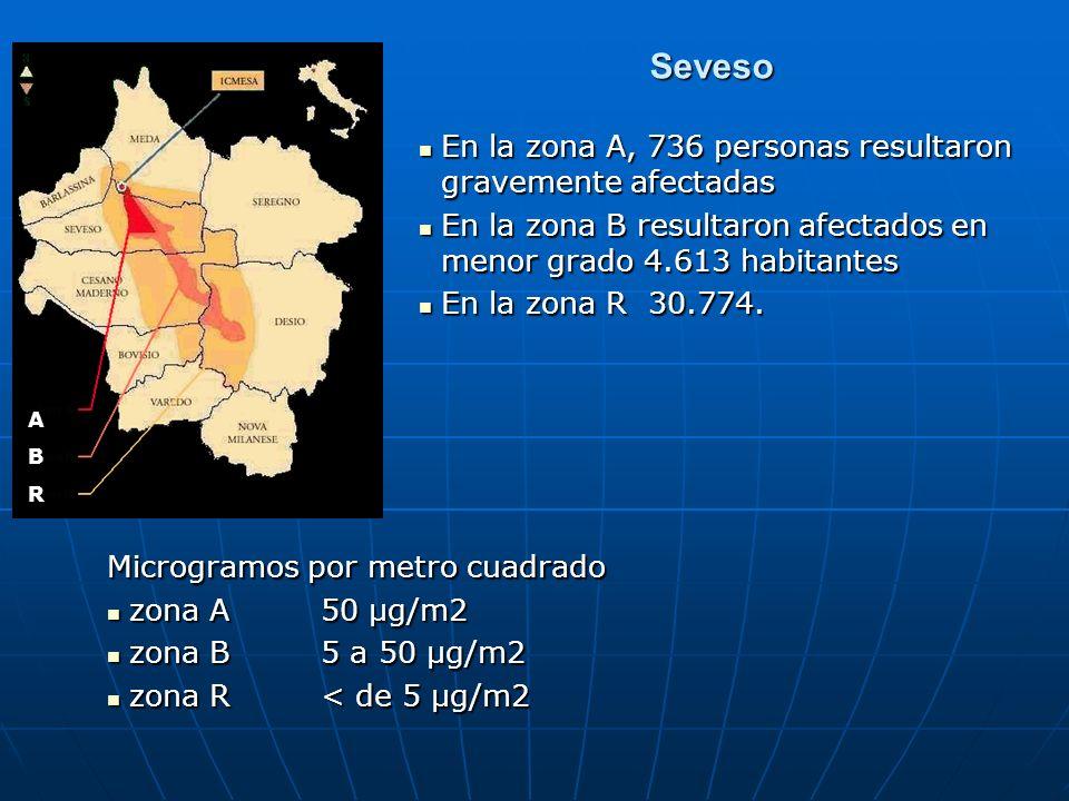 Seveso En la zona A, 736 personas resultaron gravemente afectadas En la zona A, 736 personas resultaron gravemente afectadas En la zona B resultaron a