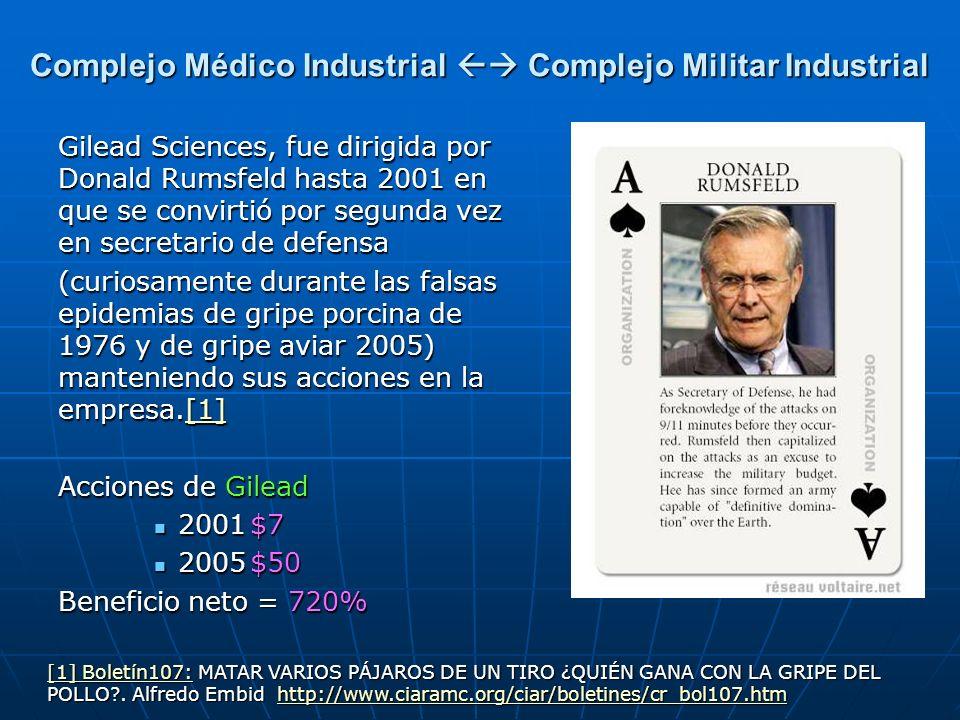 Gilead Sciences, fue dirigida por Donald Rumsfeld hasta 2001 en que se convirtió por segunda vez en secretario de defensa (curiosamente durante las fa